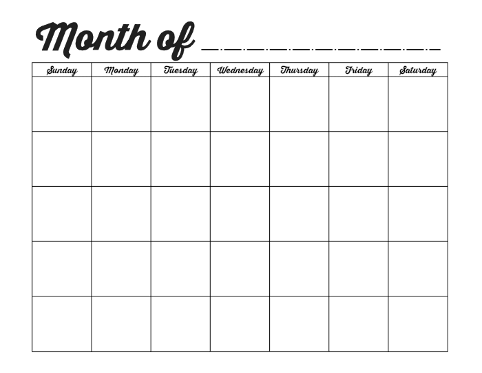 Family Binder Blank Monthly Calendar Template blog