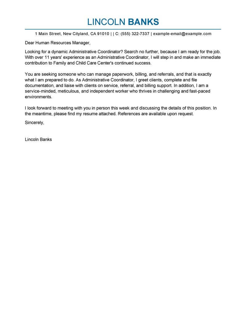 Free Administrative Coordinator Cover Letter Examples