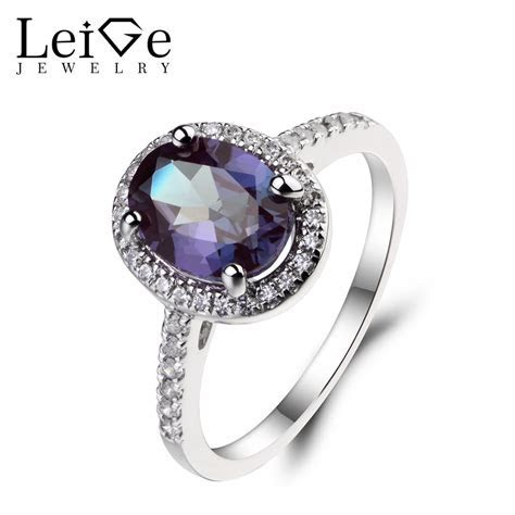 Leige Jewelry Oval Cut Lab Alexandrite Ring Wedding Rings