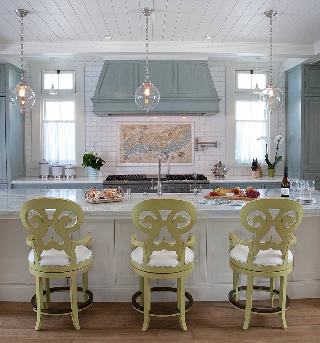 Kitchen Island with Three Pendants. Kitchen Pendants are by Remains - Sorenson Pendant. The bar stools are Carmel Swivel in Key Lime by Somerset Bay. #KitchenPendants #Remains #SorensonPendant #Lighting Kim Grant Design Inc.