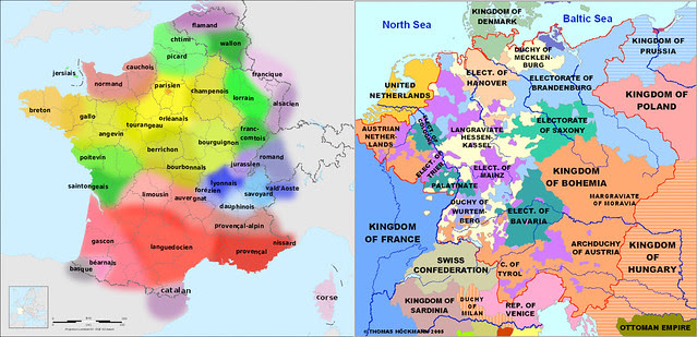 Lnaguages of modern France versus a highly simplified map of the Holy Roman Empire