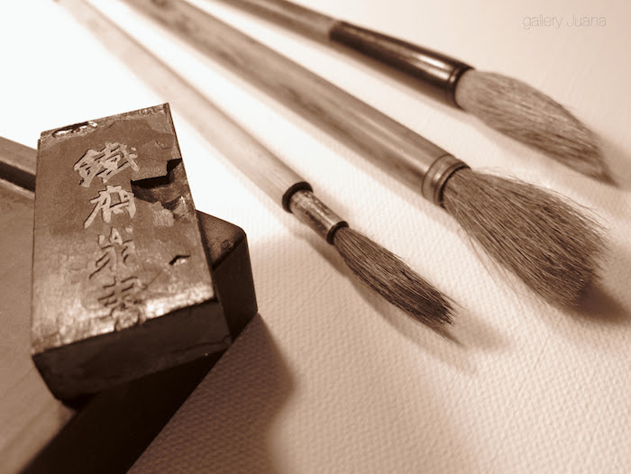 sumi e brushes and ink stick