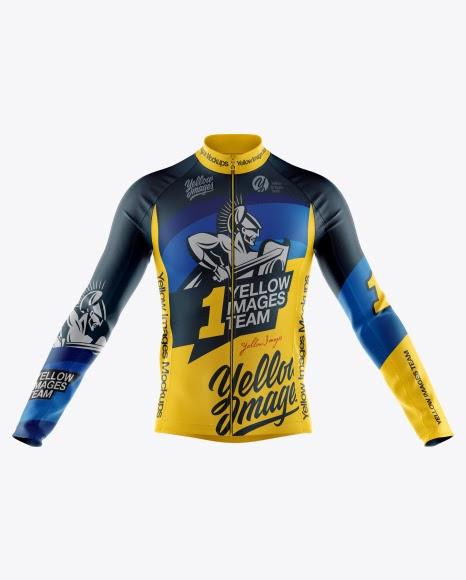 Free PSD Mockup Men's Full-Zip Cycling Jersey With Long ...