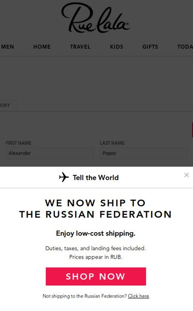 RueLaLa private shopping club now offers international shipping
