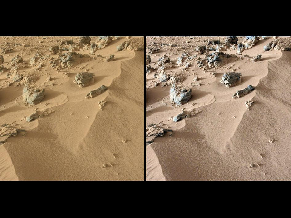 This pair of images from the Mast Camera on NASA's Curiosity rover shows the upper portion of a wind-blown deposit dubbed