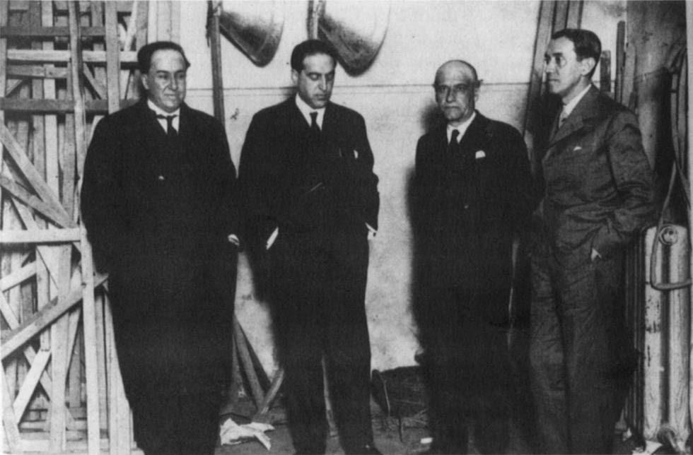 De izquierda a derecha, Antonio Machado, Gregorio Marañón, José Ortega y Gasset y Ramón Pérez de Ayala en Segovia el 14 de febrero de 1931.
