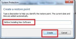 Type Restore Point Message
