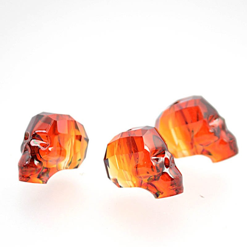 2775750s39220 Swarovski Bead - 13 mm Faceted Skull (5750) - Crystal Red Magma (1)