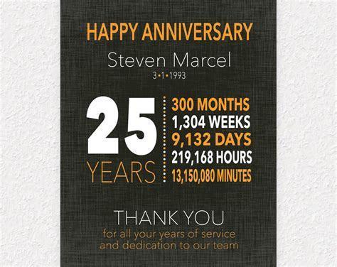 25 Year Work Anniversary Gift, 10 Year Anniversary Gift