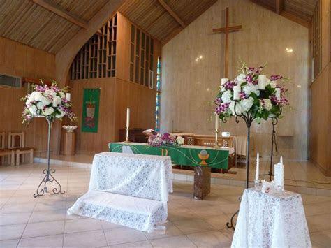 Church Flower Stands   white hydrangeas, purple dendrobium