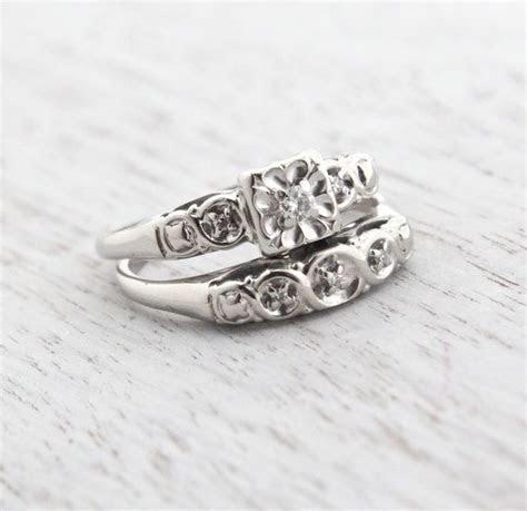 Vintage 14K White Gold Diamond Ring Set   Size 6 1/2 1940s