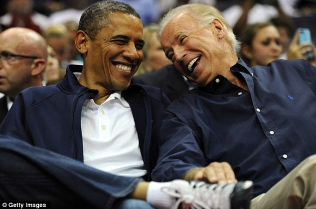 Having a laugh: Biden, with Obama in July, is known for his often outlandish remarks on the campaign trail