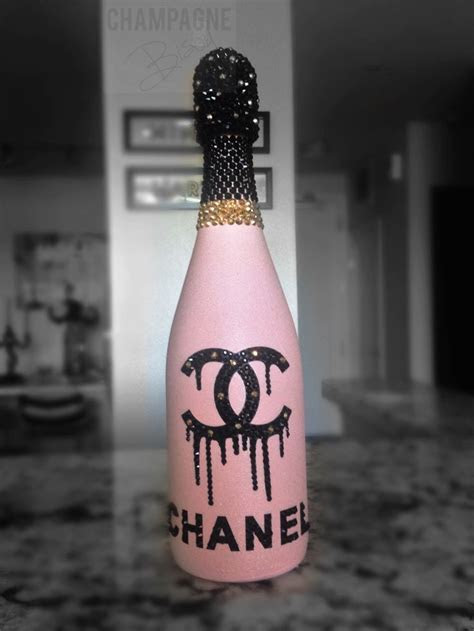 Chanel inspired pink champagne with Swarovski crystals and