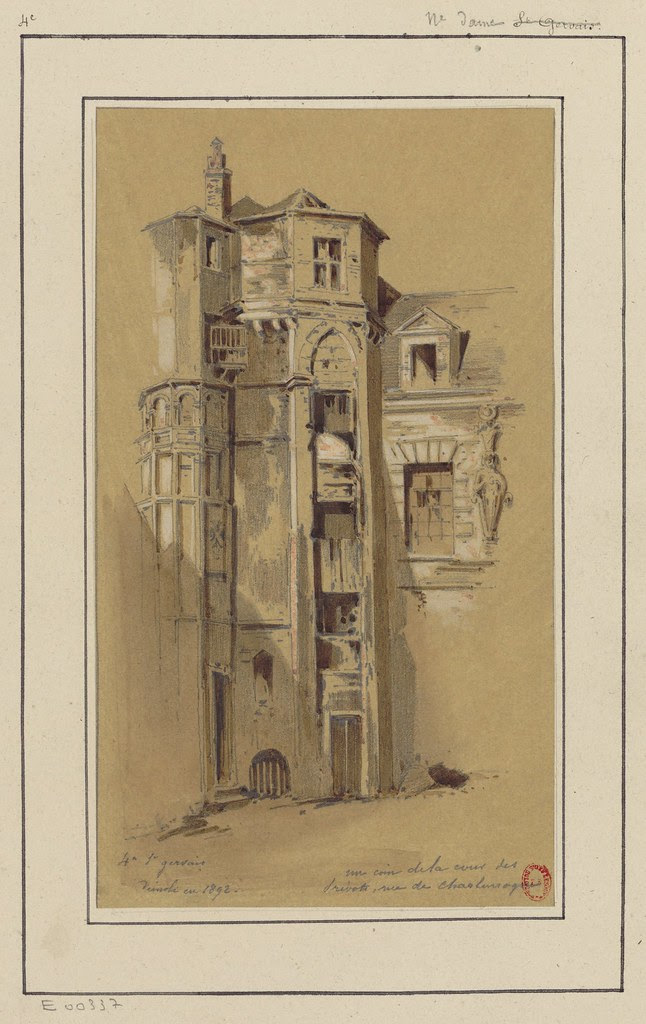 crayon architectural sketch of urban Paris in 1890s
