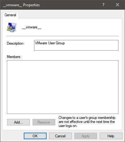 __vmware__ grupo de usuarios en Windows 10