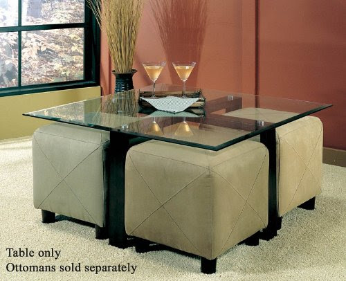 Coffee Table with Beveled Glass Top and Black Metal Frame