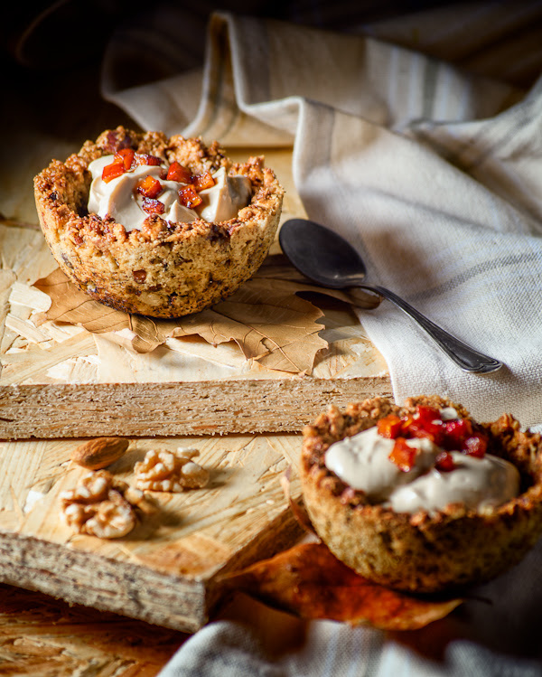 Coffee-Quark cheesecake pudding with caramelised Pumpkin in Spiced nuts bowl