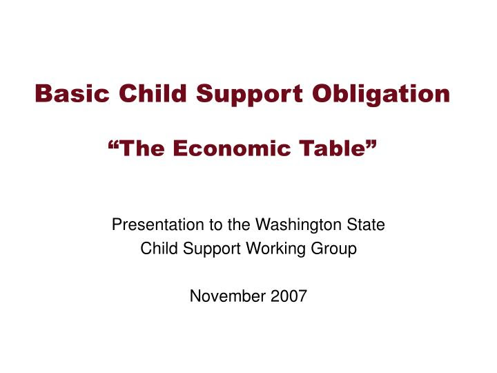 child support table lookup