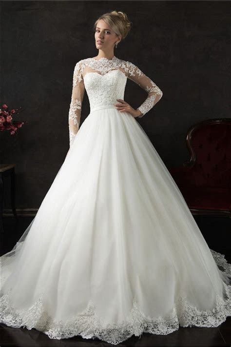 Romantic Ball Gown High Neck Long Sleeve Tulle Lace