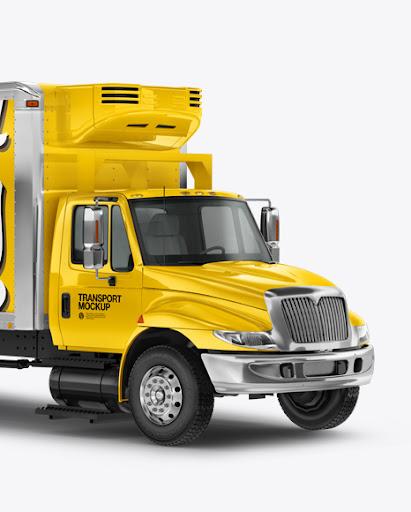 Download Download Box Truck Mockup - Half Side View PSD