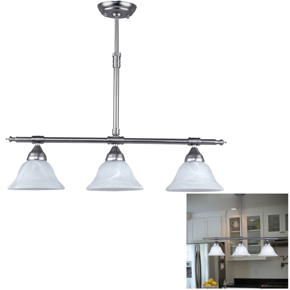 Brushed Nickel Kitchen Island Pendant Light Fixture Dining, 3 Globe Bar Lighting  eBay