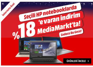 Sadece Bu Gece! Seçili HP Notebooklarda % 18'e Varan İndirim MediaMarkt'ta!