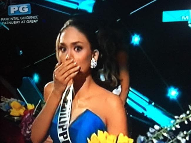 Massive mistake ... Miss Philippines looks shocked as her name is read out as the winner after the host made an error during the Miss Universe 2015 pageant. Picture: Twitter