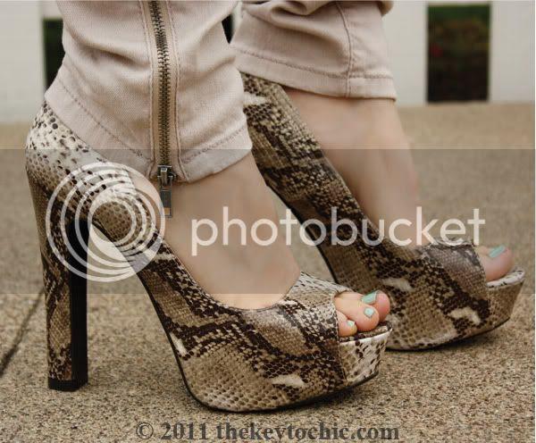 Charlotte Russe snake print peep toe pumps