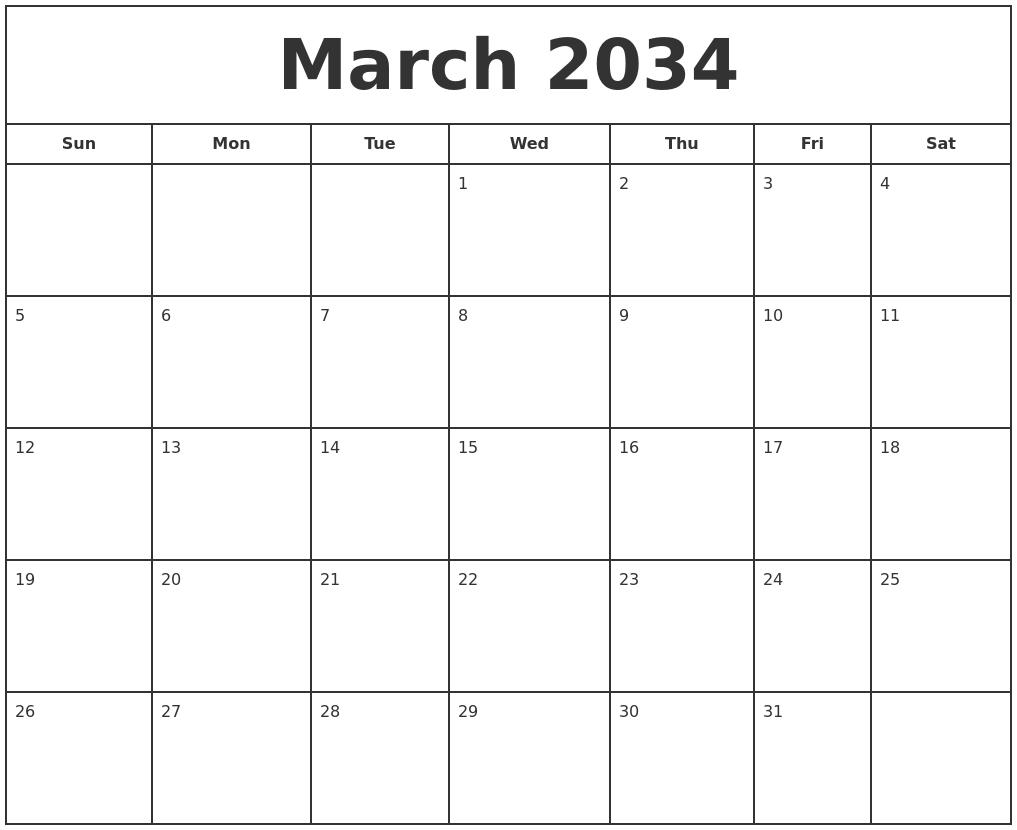 march 2034 print free calendar