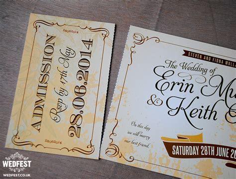 Vintage Ticket Style Wedding Invites   WEDFEST
