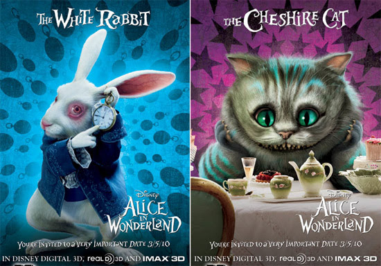 White Rabbit And Cheshire Cat Posters For Alice In Wonderland