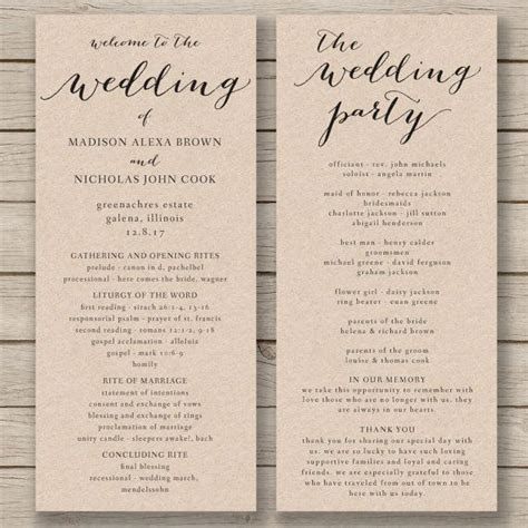 Wedding program templates, Program template and Wedding