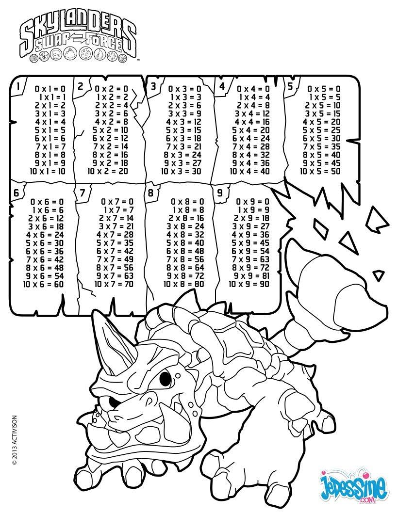 Multiplication table - skylanders coloring pages ...