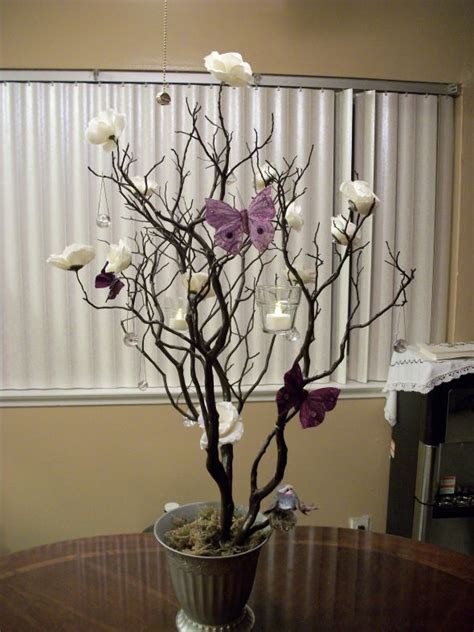 DIY Manzanita Tree Centerpiece : wedding butterfly hanging