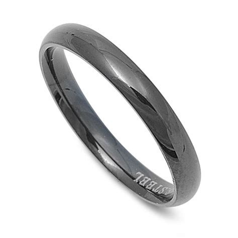 Black Men's Wedding Thin Promise Ring 316L Stainless Steel