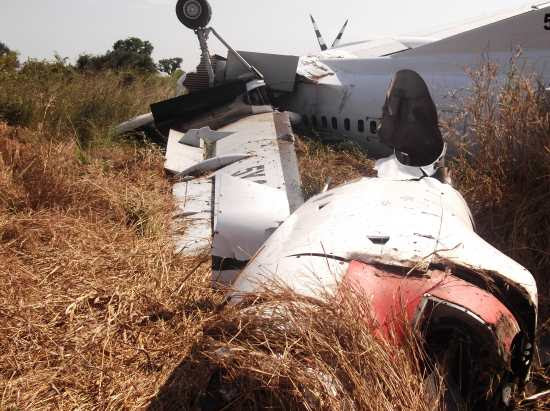 The crashed Fokker 50 in Aweil