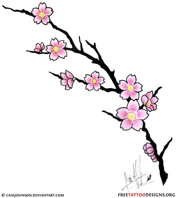 Cherry Blossom Tree Branch Tattoo Design