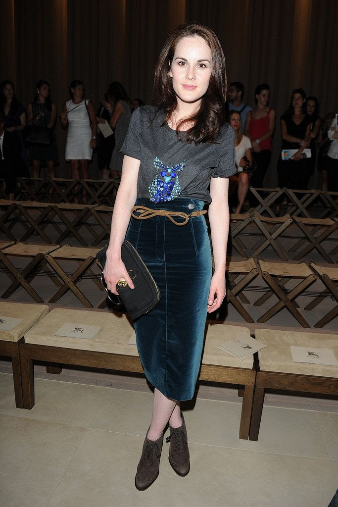 Michelle Dockery in Burberry Prorsum @ Milan Fashion Week Menswear Spring/Summer 2013 (june 2012)