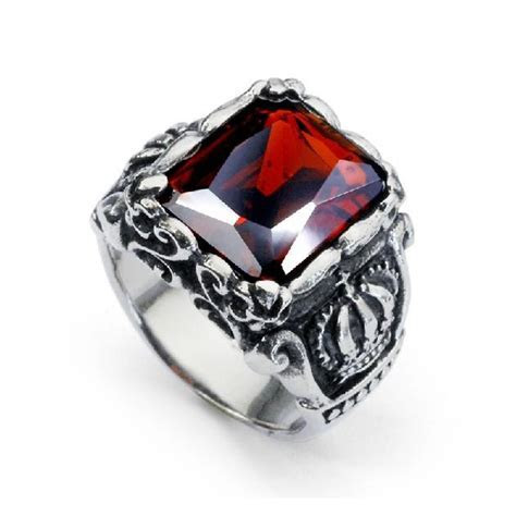 Ruby Ring Titanium Steel Band For Men ? EverMarker