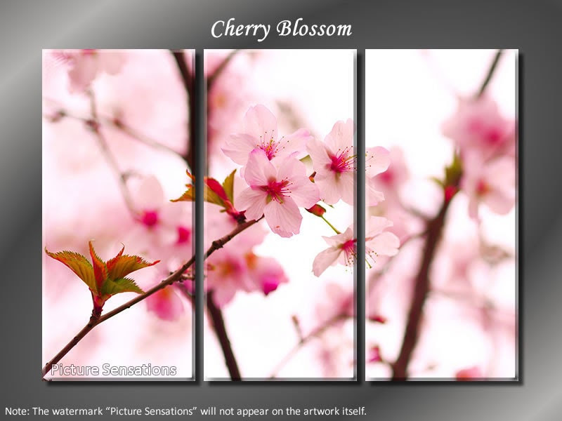 Framed Huge 3 Panel Cherry Blossom Sakura Giclee Canvas Print - Ready to Hang - ModernWallDeco