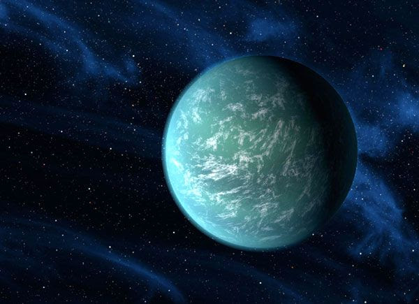 An artist's concept of the exoplanet Kepler-22b.