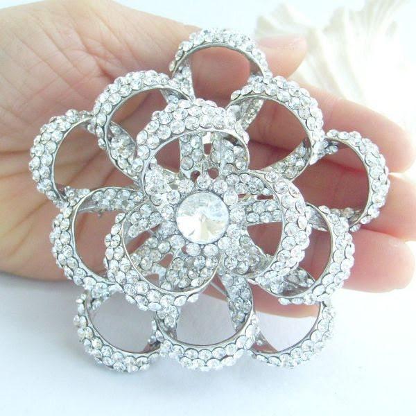 Wedding Jewelry Vintage Style Rhinestone Crystal Flower Bridal Brooch, Wedding Deco, Sash Brooch, Wedding Bouquet, Bridal Jewelry -BP04855C1
