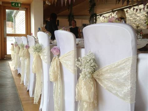 wedding chair sashes   Google Search Baby's breath tucked