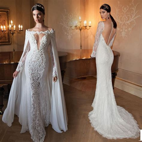 2015 Long Sleeve Lace Mermaid Wedding Dresses With Cape
