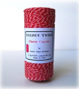 Image of Valentine Cherry Cupcake Trendy Twine {Pink & Red Bakers Twine} Limited Edition
