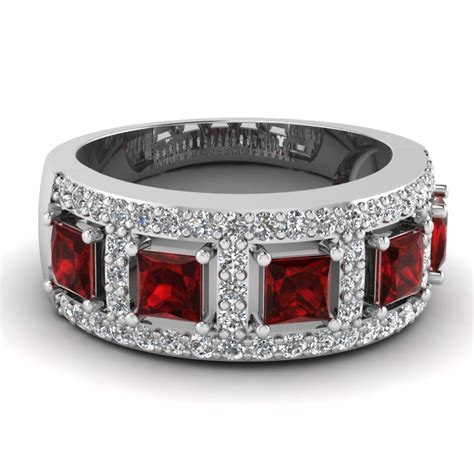 White Gold Wedding Band White Diamond Red Ruby In Pave