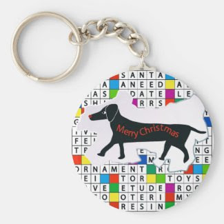 Dog Crossword with Dachshund Keychain