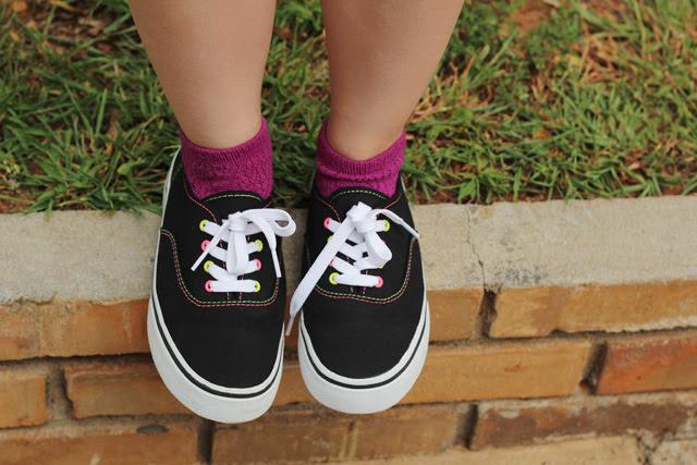 Black Sneakers, Purple Socks