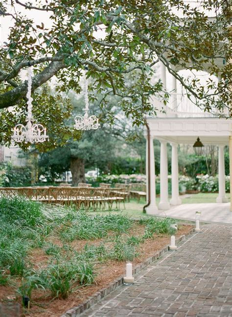 Outdoor wedding ceremony at The William Aiken House in