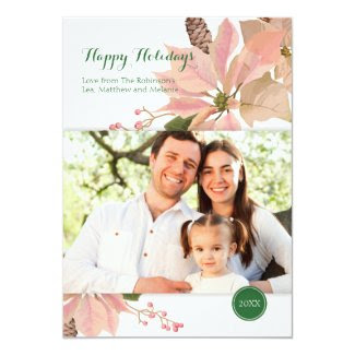 Elegant Vintage Floral Holiday Photo Card